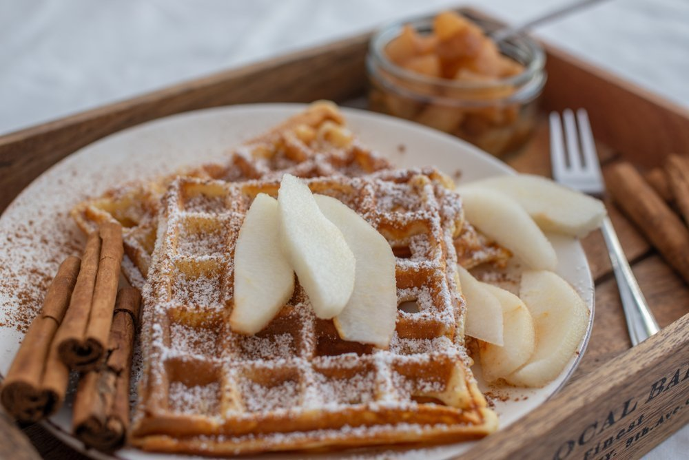 Waffles Pear and Almond Butter