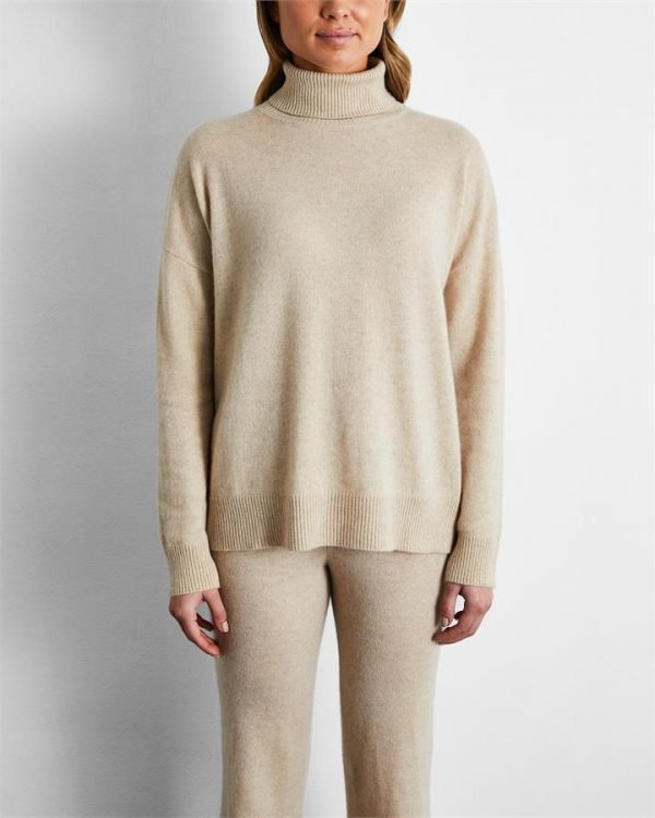 100% Cashmere Sweater in Oatmeal - Bed Threads