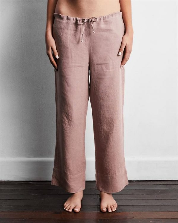 100% French Flax Linen Pants in Lavender - Bed Threads