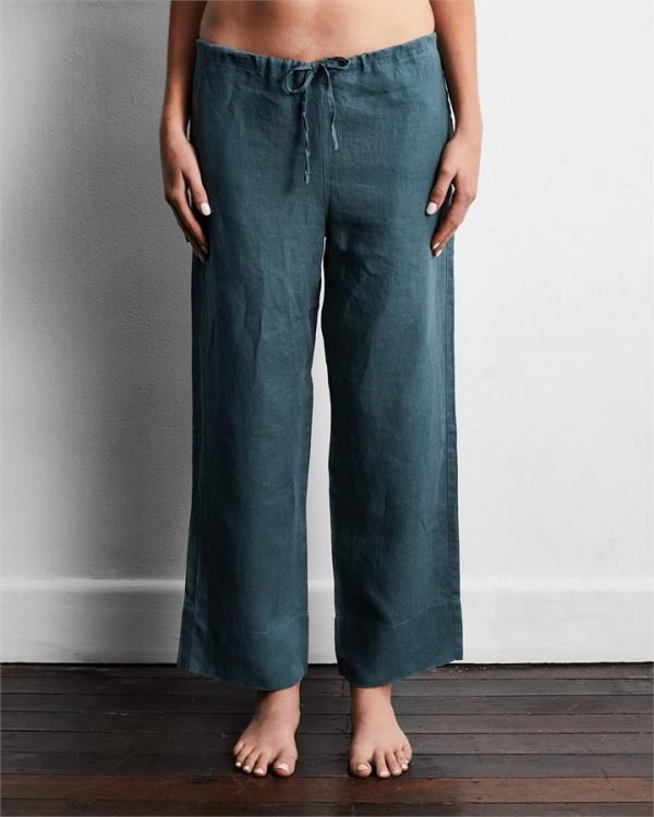 100% French Flax Linen Pants in Petrol - Bed Threads