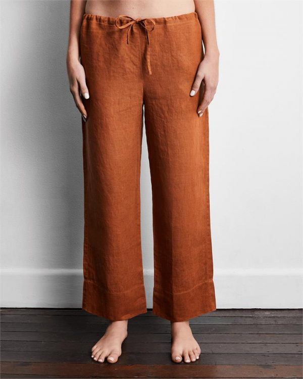 100% French Flax Linen Pants in Rust - Bed Threads