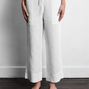 100% French Flax Linen Pants in White - Bed Threads