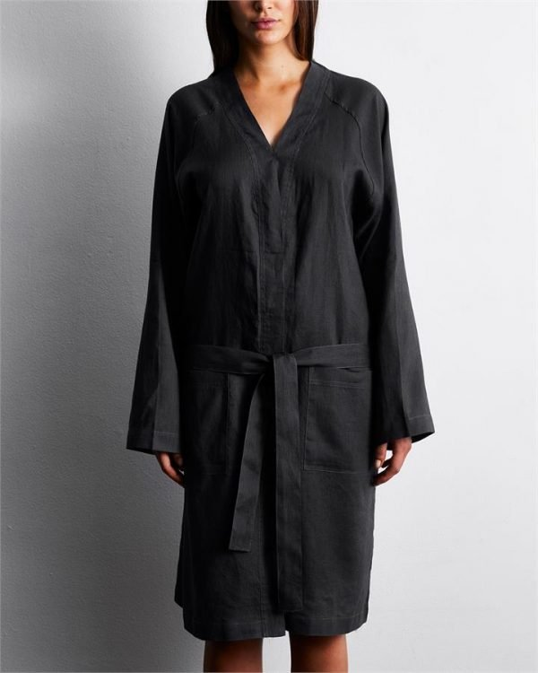 100% French Flax Linen Robe in Charcoal - Bed Threads