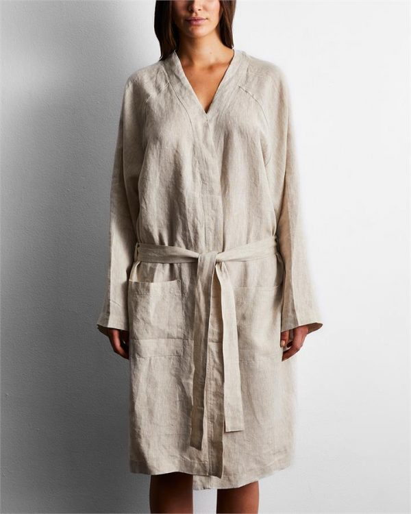 100% French Flax Linen Robe in Oatmeal - Bed Threads