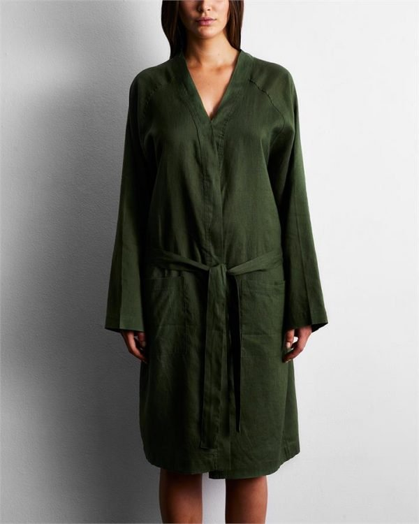 100% French Flax Linen Robe in Olive - Bed Threads