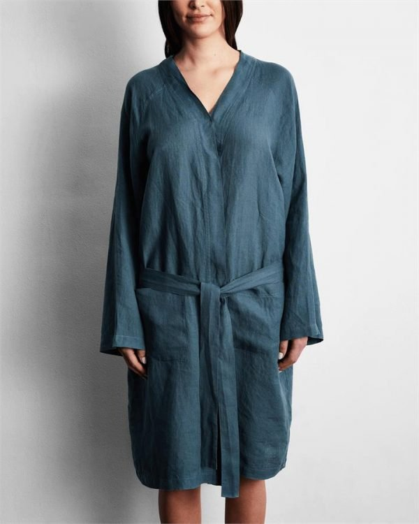 100% French Flax Linen Robe in Petrol - Bed Threads