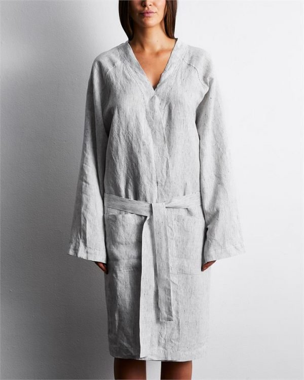100% French Flax Linen Robe in Pinstripe - Bed Threads