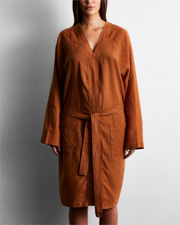 100% French Flax Linen Robe in Rust - Bed Threads