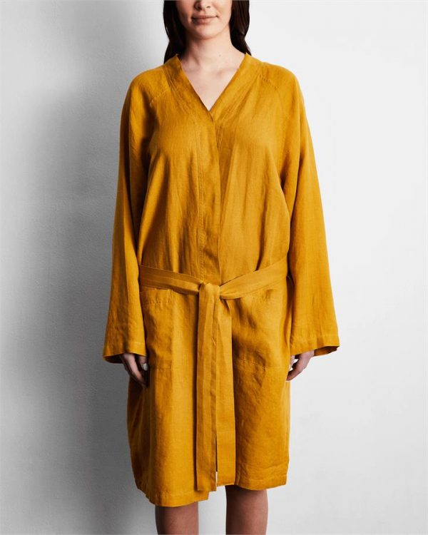 100% French Flax Linen Robe in Turmeric - Bed Threads