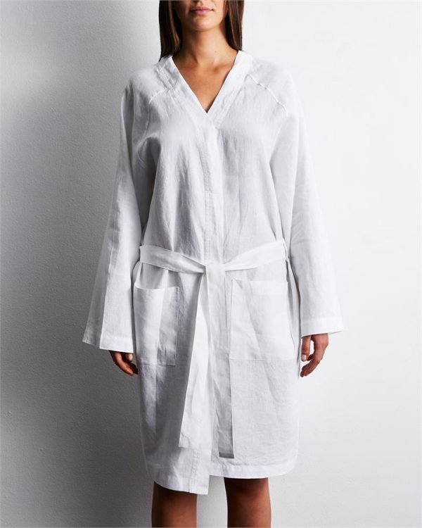 100% French Flax Linen Robe in White - Bed Threads