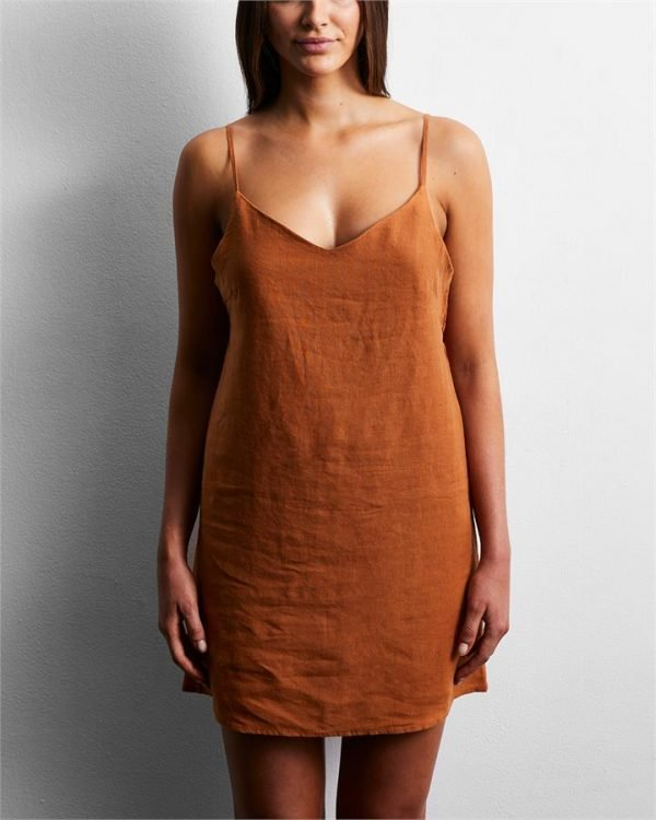 100% French Flax Linen Slip in Rust - Bed Threads