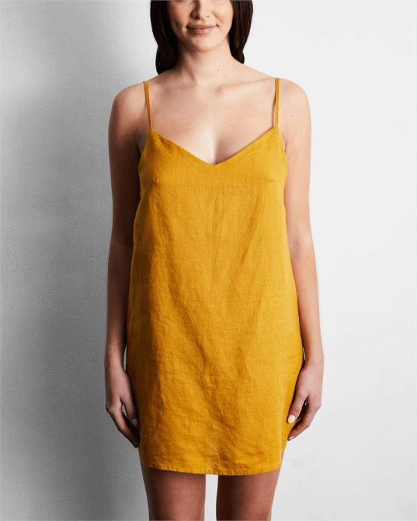 100% French Flax Linen Slip in Turmeric - Bed Threads