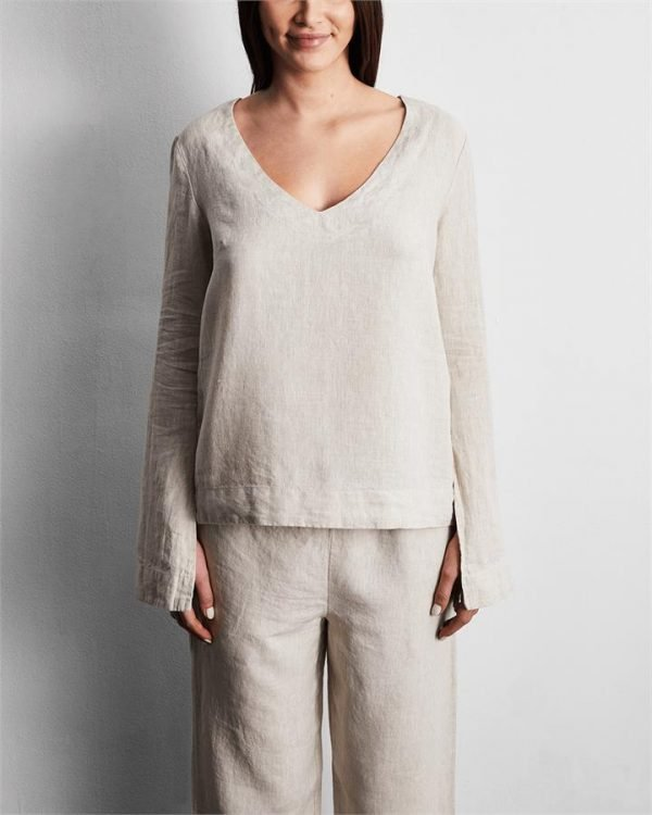 100% French Flax Linen Top in Oatmeal - Bed Threads