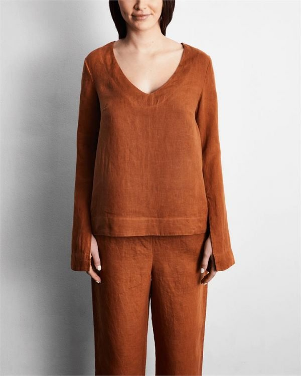 100% French Flax Linen Top in Rust - Bed Threads