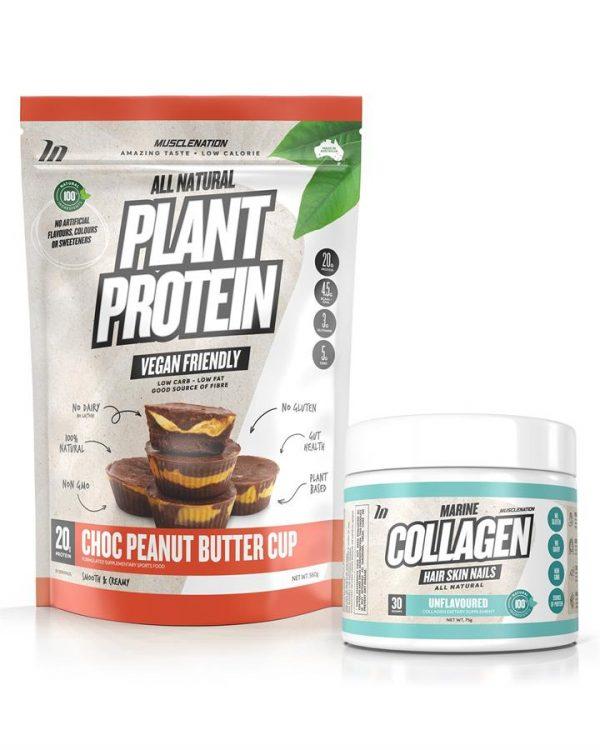 100% Natural Plant Based Protein + Marine Collagen STACK - Bundle