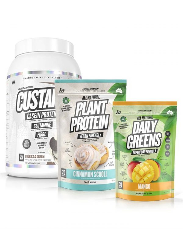 3 PACK - CUSTARD Casein Protein + 100% NATURAL Plant Based Protein + Daily Greens - Bundle