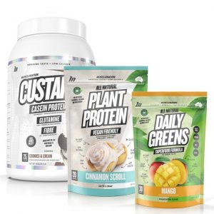 3 PACK - CUSTARD Casein Protein + 100% NATURAL Plant Based Protein + Daily Greens - Select 1: CUSTARD Casein Protein