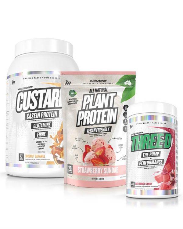 3 PACK - CUSTARD Casein Protein + 100% NATURAL Plant Based Protein + THREE-D Pump Performance - Bundle