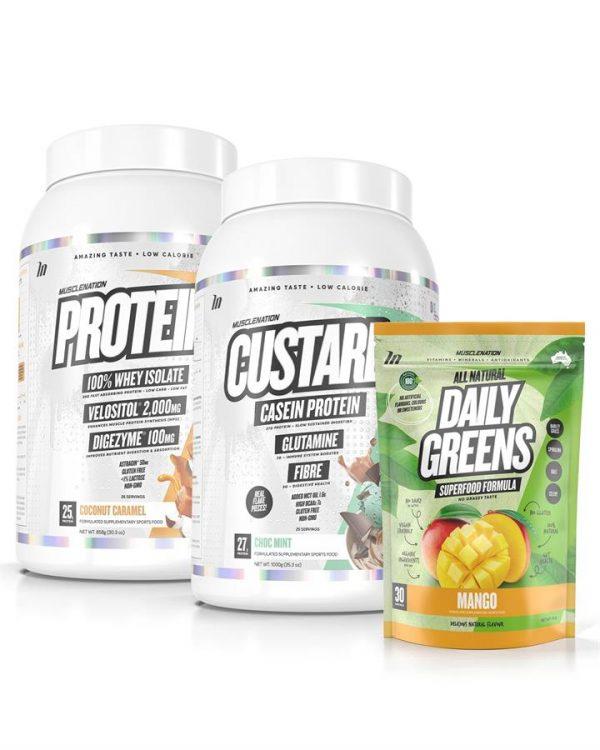 3 PACK - CUSTARD Casein Protein + PROTEIN 100% Whey Isolate + Daily Greens - Select 1: CUSTARD Casein Protein