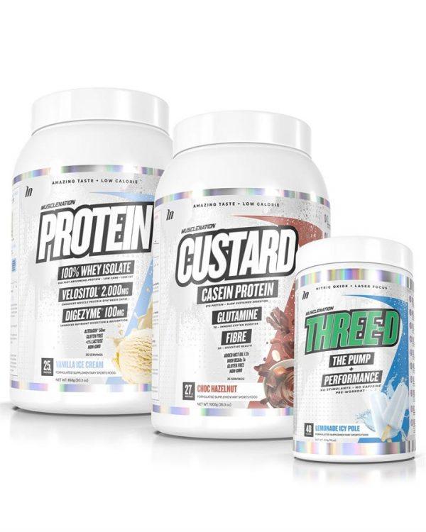 3 PACK - CUSTARD Casein Protein + PROTEIN 100% Whey Isolate + THREE-D Pump Performance - Bundle