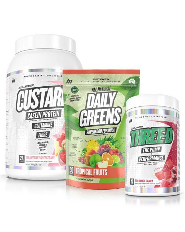 3 PACK - CUSTARD Casein Protein + THREE-D Pump Performance + Daily Greens - Bundle