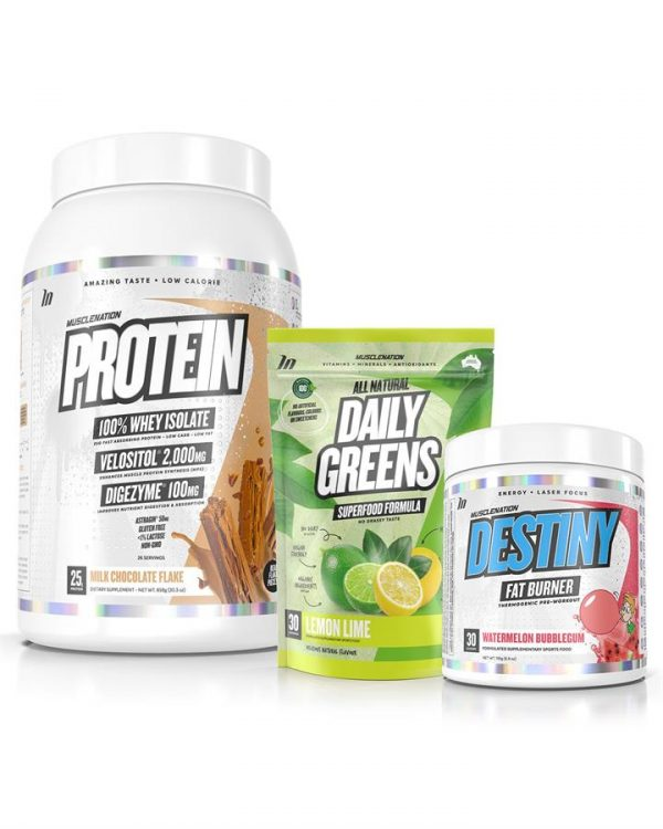 3 PACK - PROTEIN 100% Whey Isolate + DESTINY Fat Burner + Daily Greens STACK - Select 1: Daily Greens