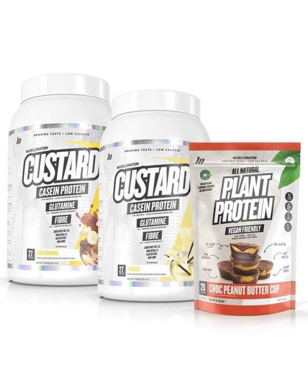 3 PACK - TWIN PACK CUSTARD Casein Protein + 100% Natural Plant Based Protein - Select Flavour 1