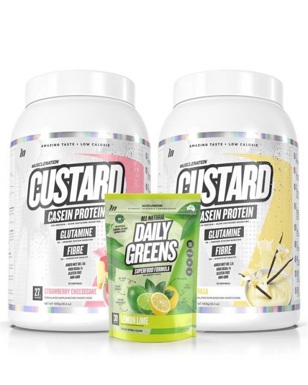 3 PACK - TWIN PACK CUSTARD Casein Protein + Daily Greens - Select Flavour 1
