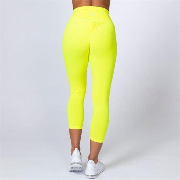 7/8 Scrunch Leggings - Neon Yellow - XS