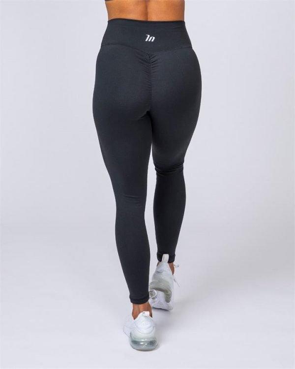 Ankle Length Scrunch Leggings - Black - XXL
