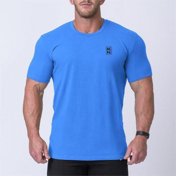 Box Logo Casual Tee - Blue / Black - L