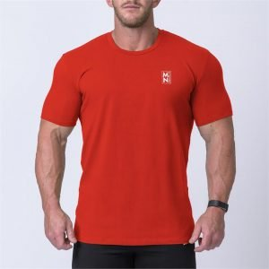 Box Logo Casual Tee - Red / White - XXL