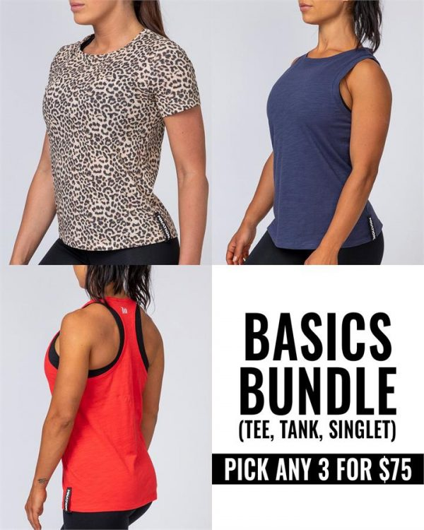 Buy any three women's basics (Tshirts, Tank or Racer Back) for $75 - Bundle