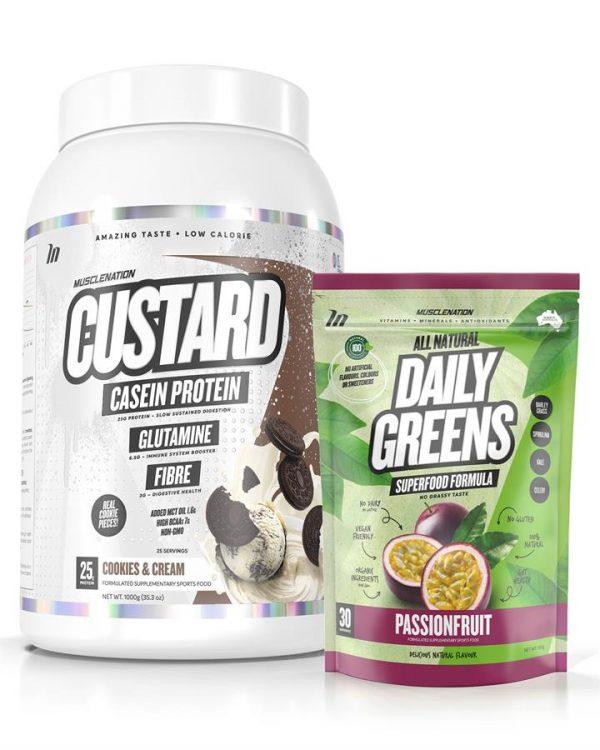 CUSTARD Casein Protein + 100% Natural Daily Greens STACK - Bundle