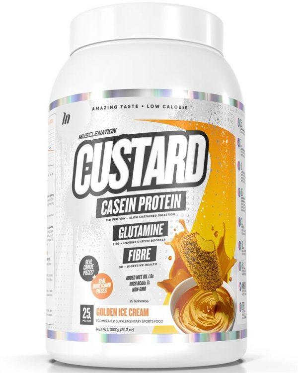 CUSTARD Casein Protein GOLDEN ICE CREAM (w/ real cookie & honeycomb pieces)