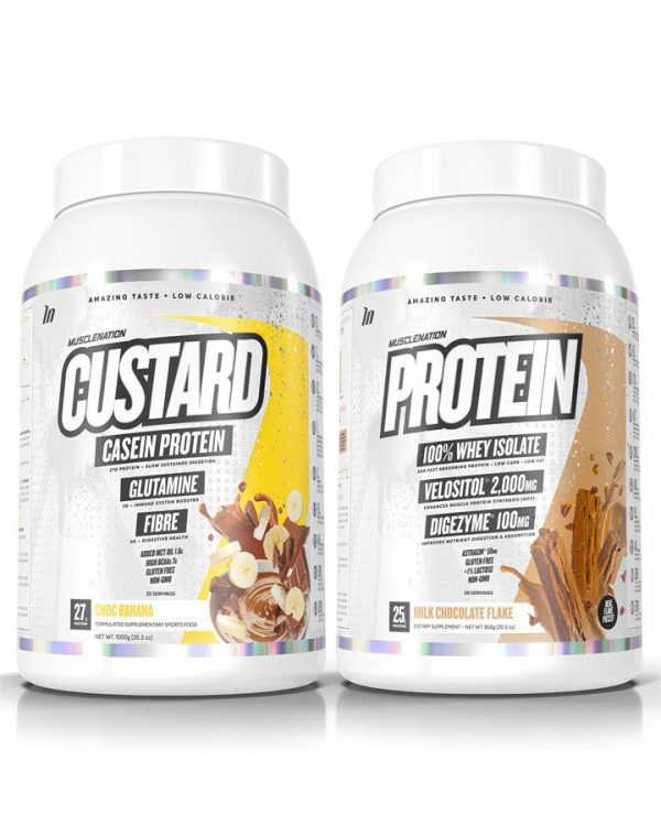 CUSTARD Casein Protein + PROTEIN 100% Whey Isolate STACK - Select 1: PROTEIN 100% Whey Isolate