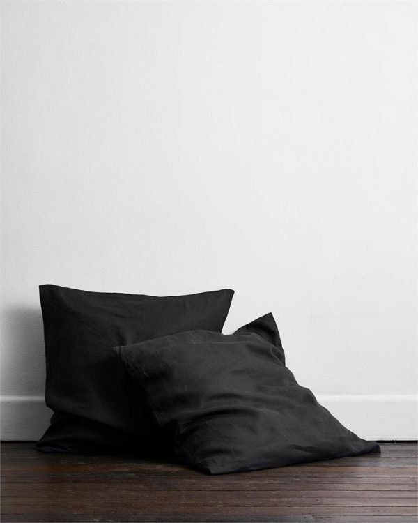 Charcoal 100% Flax Linen European Pillowcases (Set of Two) - Bed Threads
