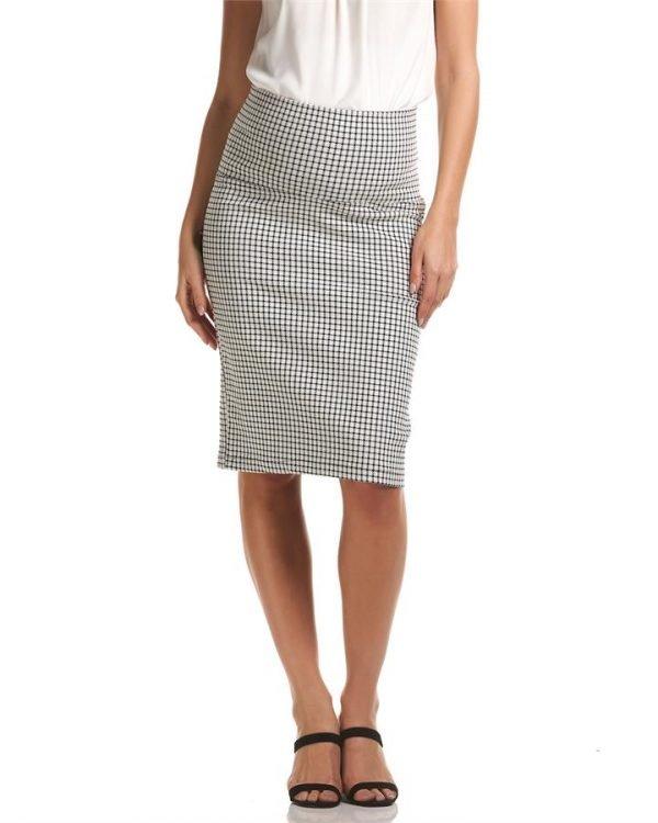 Check Pencil Maternity Skirt
