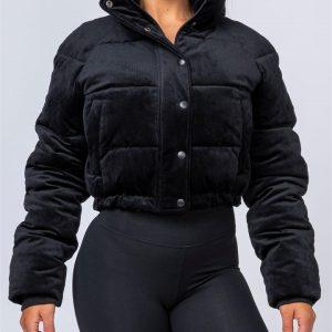 Cord Puffer Jacket - Black - XS