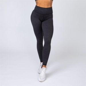 Cotton-Feel Scrunch Leggings - Heather Black - XL