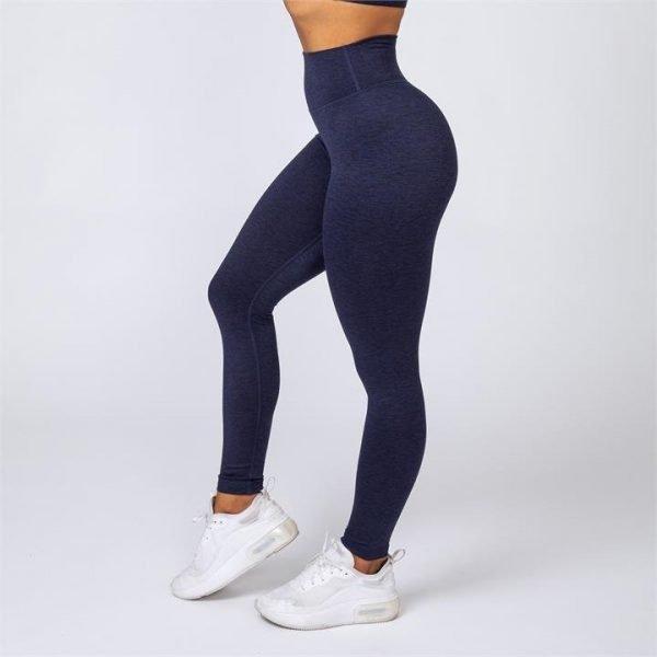 Cotton-Feel Scrunch Leggings - Heather Navy - L