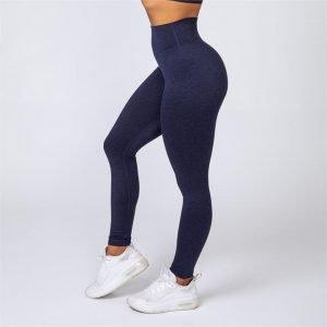 Cotton-Feel Scrunch Leggings - Heather Navy - XL