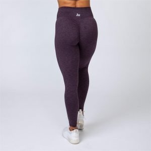 Cotton-Feel Scrunch Leggings - Heather Plum - M