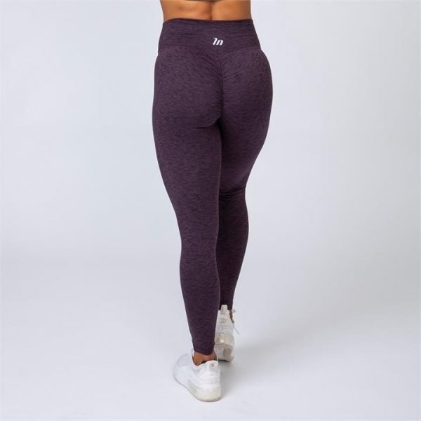 Cotton-Feel Scrunch Leggings - Heather Plum - XXL