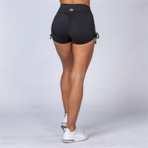 Cotton-Feel Tie Up Scrunch Shorts - Heather Black - XS