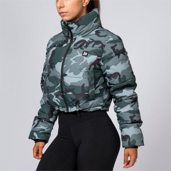 Cropped Puffer Jacket - Camo - S