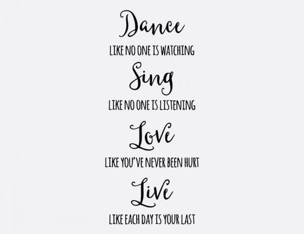 Dance, Sing, Love, Live Wall Letter Quote