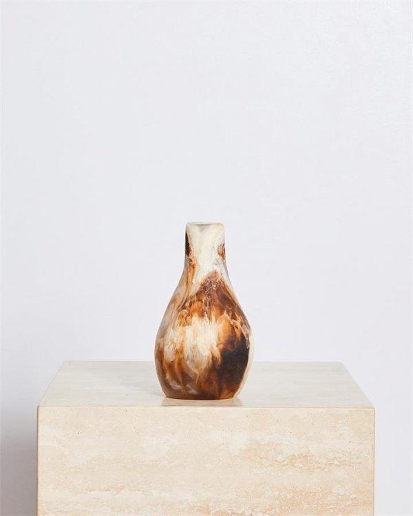 Dinosaur Designs Medium Liquid Vase In Light Horn Swirl - Bed Threads