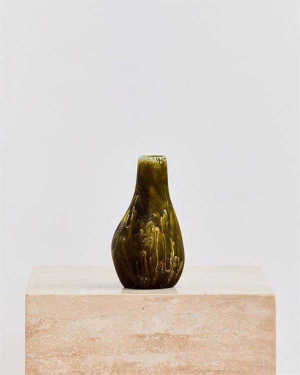 Dinosaur Designs Medium Liquid Vase In Malachite Swirl - Bed Threads