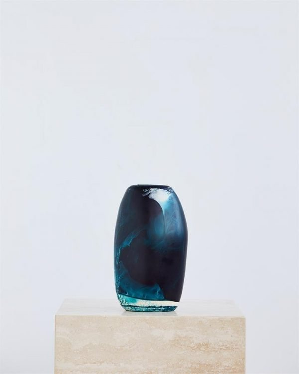 Dinosaur Designs Medium Pebble Vase In Moody Blue Swirl - Bed Threads